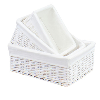 JVL Rectangular Willow Storage Baskets White Set Of 3 Lined