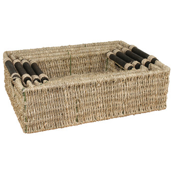 JVL Natural Seagrass Storage Baskets With Wooden Handles and Metal Frame Set Of 4