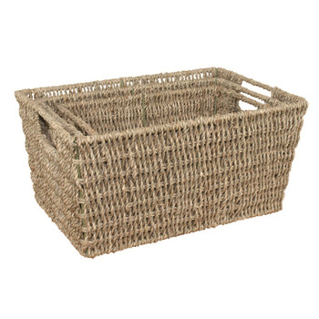 JVL Tapered Natural Seagrass Storage Baskets Set Of 3 Metal Frame
