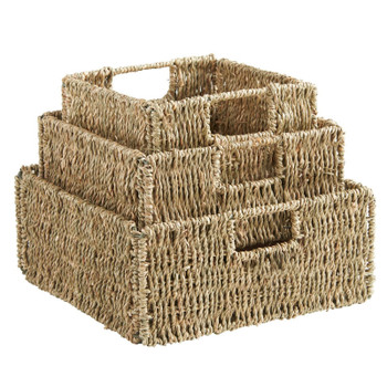 JVL Natural Seagrass Square Storage Organizer Baskets with Insert Handles Set Of 3 Metal Frame