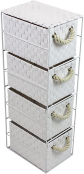 JVL Four-Drawer White Storage Unit with Rope Handles, 18 x 25 x 65 cm