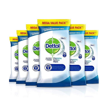 Dettol 756pk Surface Cleaning Wipes Antibacterial Airtight Resealable Pack | 6 x 126Pk-1