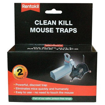 Rentokil Clean Kill Mouse Traps, Kills Humanely, Poison-Free & Re-Useable 2 Pack