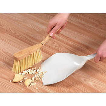 Natural Bamboo and Grey Metal Steel Dustpan and Brush Set