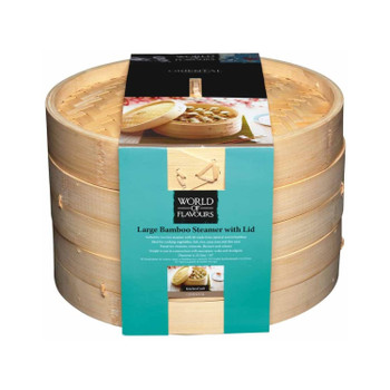 KitchenCraft World of Flavours Bamboo Steamer Basket, 2 Tier, 25.5 cm
