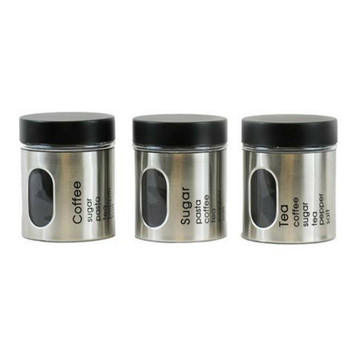 Canister Set Of 3 Glass Storage Jars 600ml