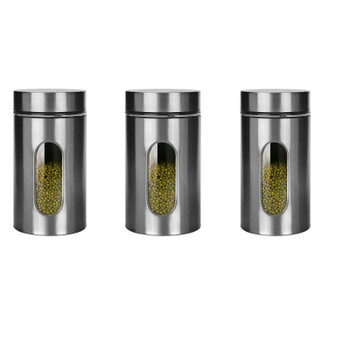 Canister Set Of 3 Glass Storage Jars 900ml