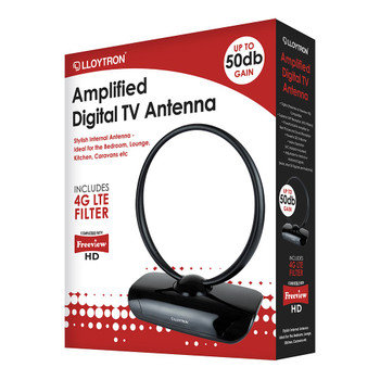 Lloytron Active Indoor Loop TV Antenna - 50dB - Black