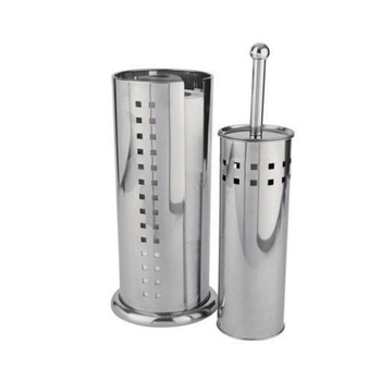 Square Design Round Toilet Brush and Roll Holder Set, Stainless-Steel, Silver, 2-Piece