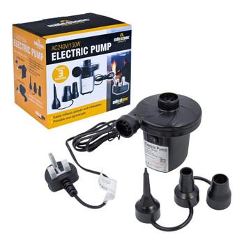 Camping AC240V/130W AC Electric Air Pump inflator/deflator for airbeds paddling pools & toys. Universal valves. 3 pin UK plug. Black