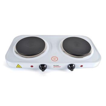 Lloytron E4202WH Kitchen Perfected Double Hotplate, 2500 W, White