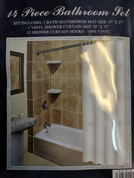 Shower Curtain and shower  Mat Set White