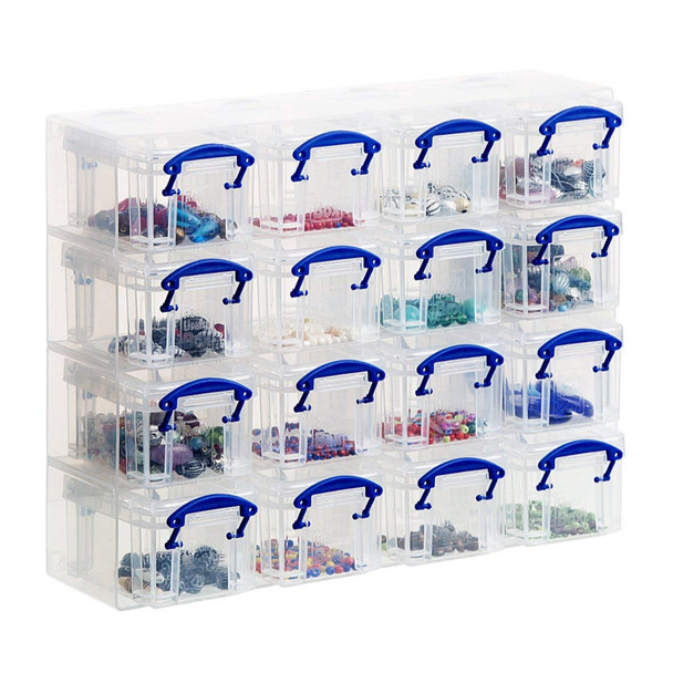 Organiser, 16 x 0.14 Litre Storage Boxes in a Clear Plastic Organiser and Clear Boxes