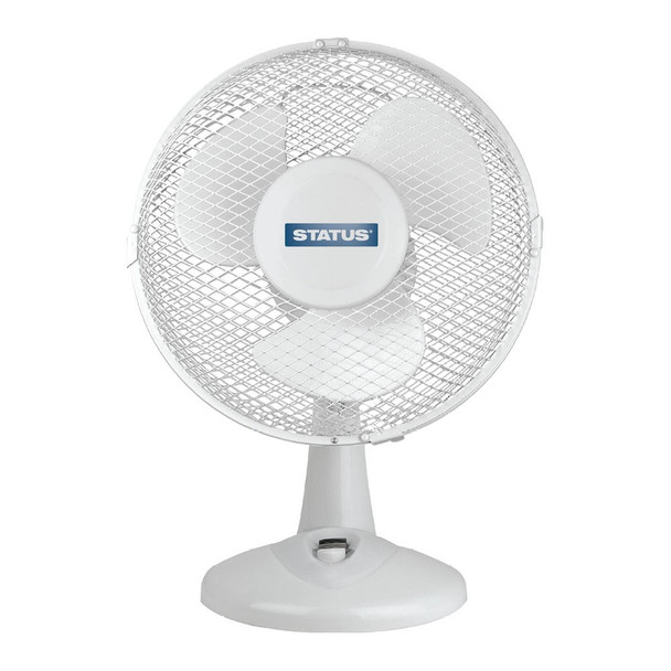 "STATUS 9"" oscillating Desk Fan - White UK Plug"