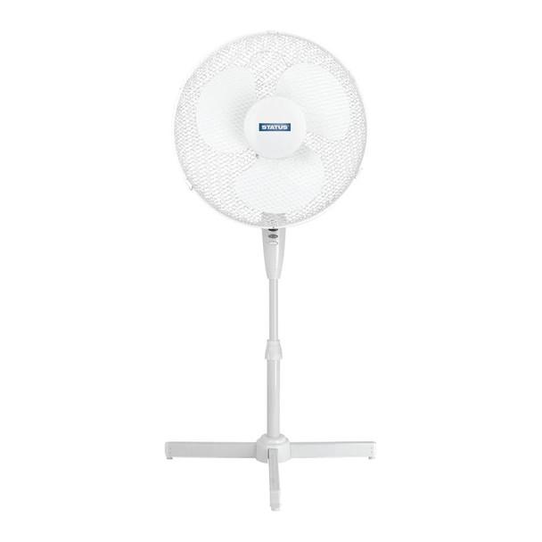 """STATUS 16"""" Ocillating Pedestal Fan - White UK Plug"""