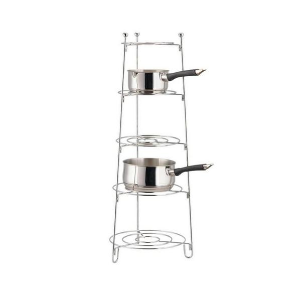 Apollo Chrome Saucepan Stand 5-Tier, Metal, 28x80x2.8