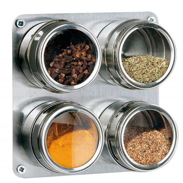 Stainless Steel Salt and Pepper and Spice Jars on Magnetic Square Tray - Set of 4