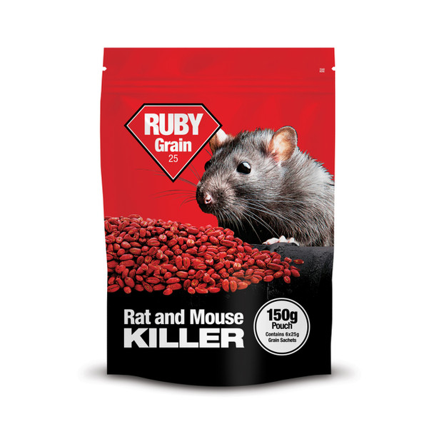 Lodi Ruby Grain 25 Rat and Mouse Killer Poison Difenacoum 150g