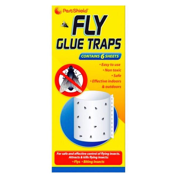 Pestshield Fly Glue Traps Bug killer Effective Indoor Outdoor Non Toxic 6 Sheets
