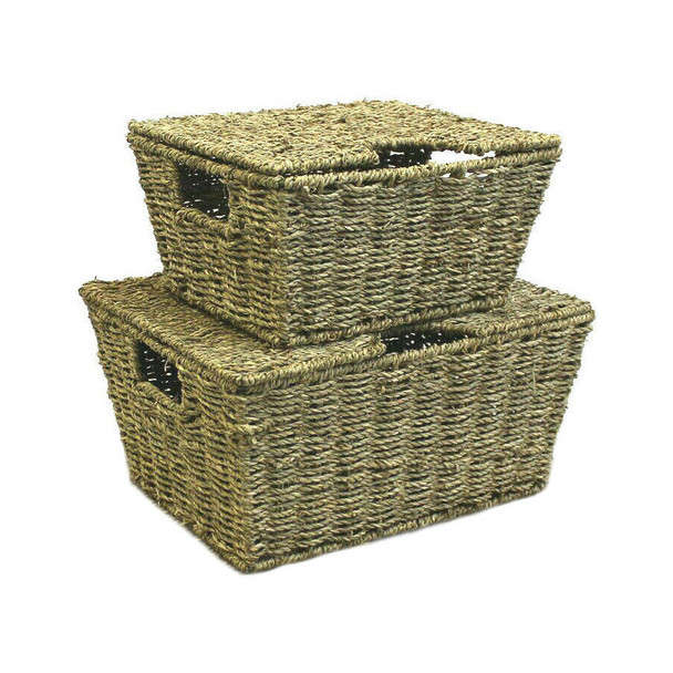 Set of 2 Large Tapered Natural Seagrass Storage Boxes Basket with Lid and Handle