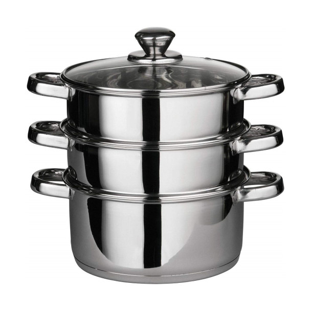 3 Tier Euro Stainless Steel Steamer With Glass Lid And Capsulated Bottom 22cm