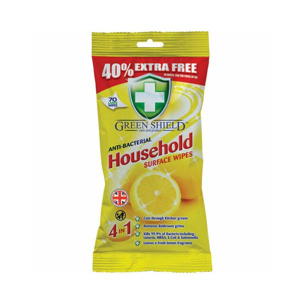 Green Shield Multi Purpose Antibacterial Household Wipes 70 Pack 4 in 1