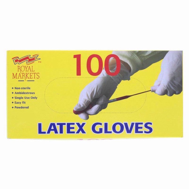 Royal Markets Latex Gloves, Medical Quality, Pack of 100