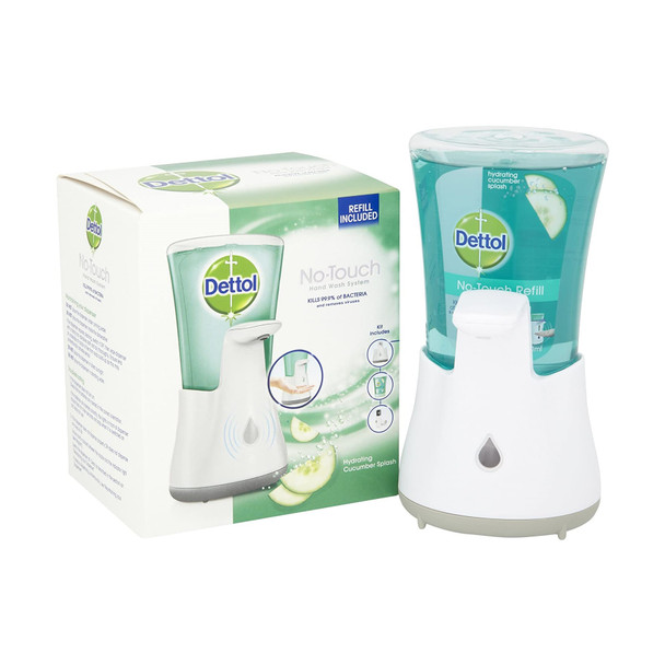 Dettol No Touch Hand Wash System And Hydrating Cucumber Splash 250 ml Refill.