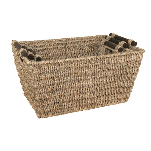 JVL Tapered Natural Sea Seagrass Storage Baskets With Wooden Handles Set of 3 with Metal Frame