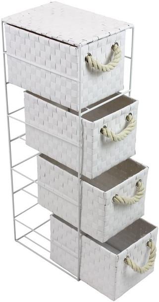 JVL Four-Drawer White Storage Unit with Rope Handles, 18 x 25 x 65 cm