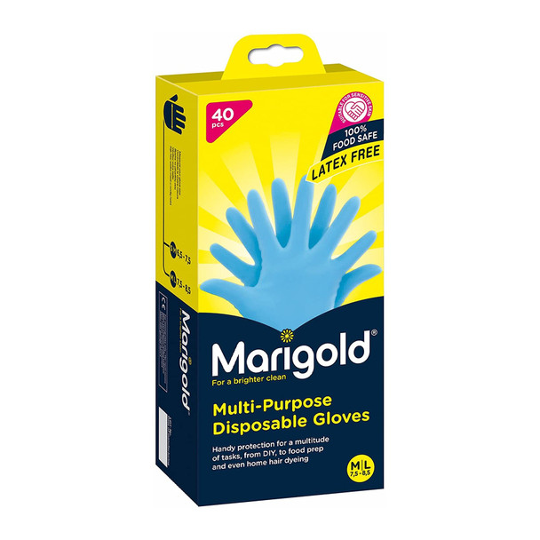 Marigold Nitrile Multi-Purpose Disposable Gloves, Medium/Large, Pack of 40-Blue