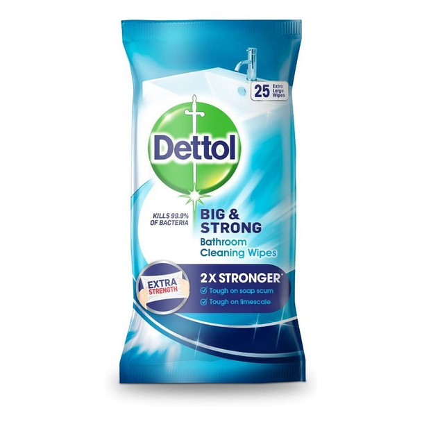 Dettol Big and Strong Bathroom Wipes, 25 Wipes