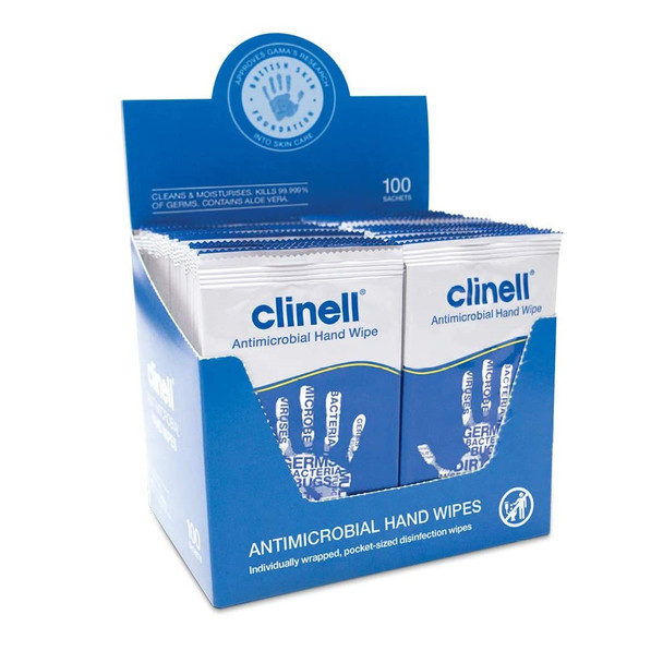 Clinell Antibacterial Hand Wipes for Hands and Surfaces 100