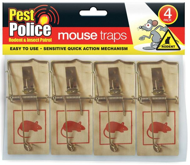 Pest Police Wooden Mouse traps 4Pack