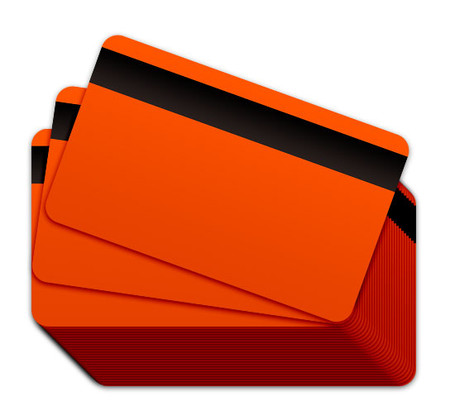 orange blank plastic cards with a magnetic stripe