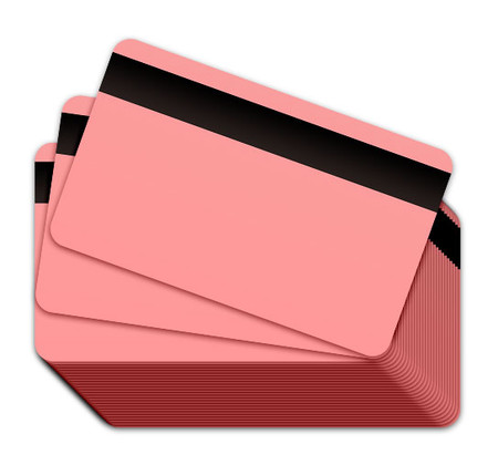 Pink Blank Plastic Cards with a magnetic stripe
