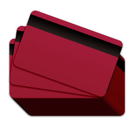 Cranberry Blank Plastic Cards with a magnetic stripe