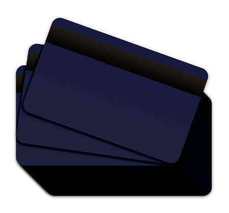 Dark Blue Blank Plastic Cards with a magnetic stripe
