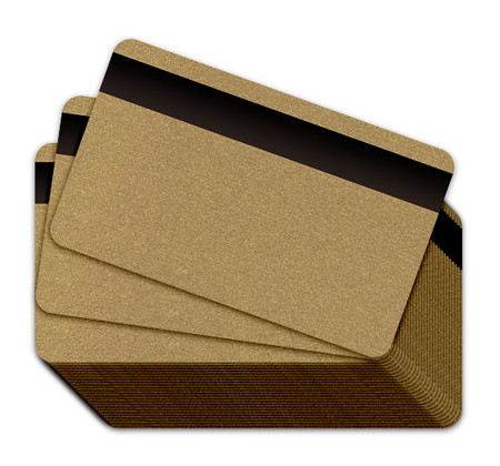 Metallic Gold Blank Plastic Cards with a magnetic stripe