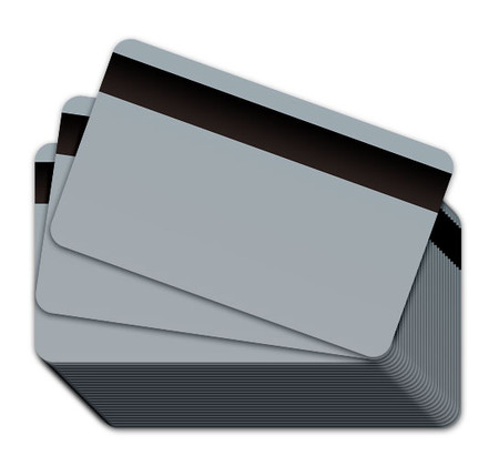 Grey Blank Plastic Cards with a magnetic stripe