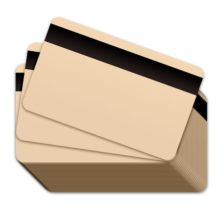 Tan Blank Plastic Cards with a magnetic stripe