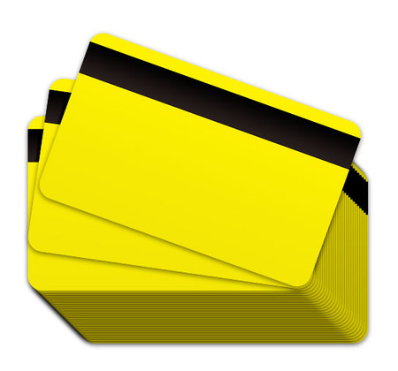 Yellow Blank Plastic Cards with a magnetic strip