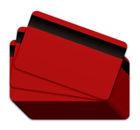 Red Blank Plastic Cards with a magnetic stripe