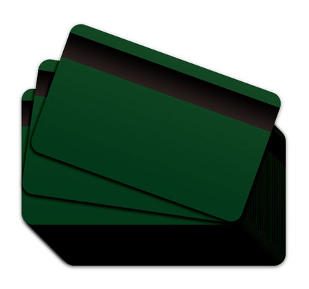 Green Blank Plastic Cards with a magnetic stripe