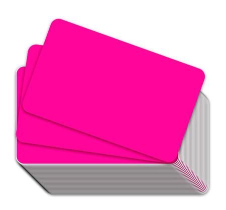 Fluorescent Pink Blank Plastic Cards