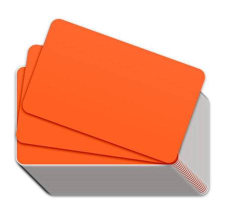 Fluorescent Orange Blank Plastic Cards