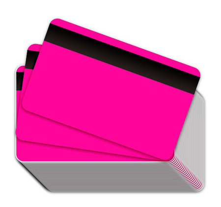 Neon Pink Blank Plastic Cards with Magnetic Stripe
