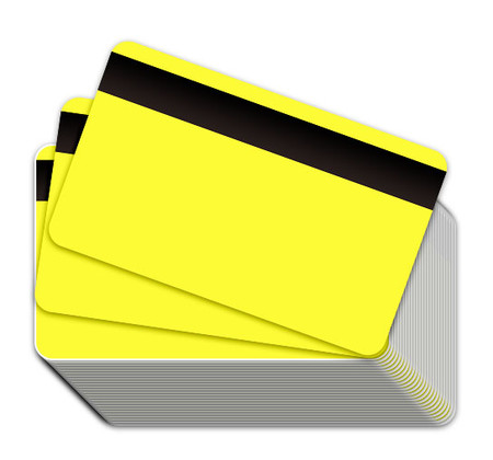 Neon Yellow Blank Plastic Cards with Magnetic Stripe
