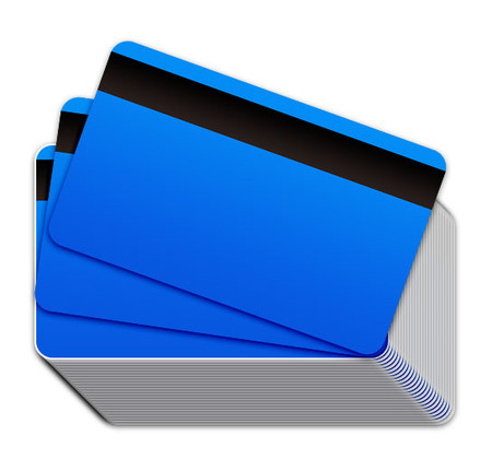 Neon Blue Blank Plastic Cards with Magnetic Stripe