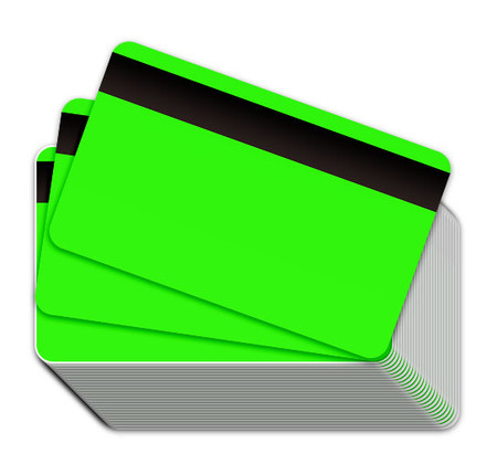 Neon Green Blank Plastic Cards with Magnetic Stripe